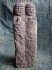 Japanese Stone Two-Figure Jizo Bosatsu Bodhisattva