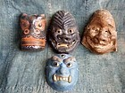 Set of 4 paper-mache Kyogen sagamen masks