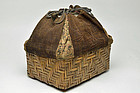 Takekago - Bamboo basket with Ainu embroidery