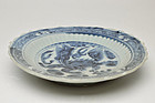 Chinese Qing dynasty blue and white dragon plate