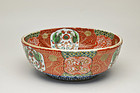 Antique Japanese Imari akae red pictured bowl 19c