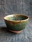 Japanese Ao-Oribe tea bowl early 17c