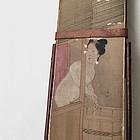 Tanzaku strip painting, Japanese woman in bath
