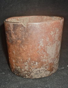 AN UNPAINTED MAYA CYLINDRICAL CUP