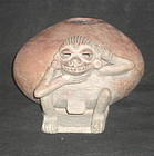 A FINE MONTE ALBAN CENSOR WITH APPLIED SIMIAN DECORATION