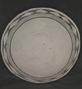 A FINE EXAMPLE OF A BLACK ON WHITE  ANASAZI  POTTERY BOWL