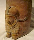 A JAMA-COAQUE CYLINDER JAR WITH ANTHROPOMORPHIC ELEMENT