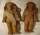A RARE MATCHED PAIR OF JAMA-COAQUE EFFIGIES FROM ECUADOR