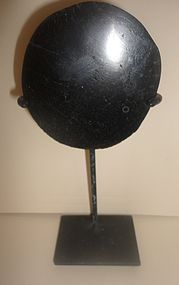 A SCARCE CHAVIN ANTHRACITE HAND MIRROR