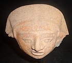 A GENTLE AND PLEASING MAYA EFFIGY HEAD FRAGMENT