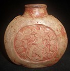 A SUPERB LARGE  AND ORNATE MAYA POISON BOTTLE