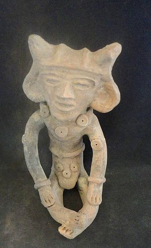 A SUPERB LARGE HAND MODELED SEATED FIGURE FROM TEOTIHUACAN MEXICO