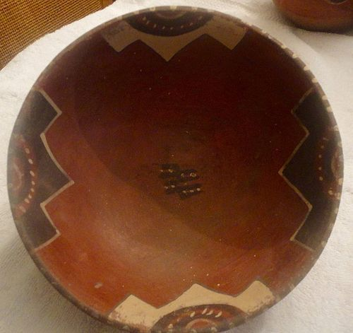 A RARE AND BEAUTIFUL CHIRIMBAYA POLYCHROME BOWL