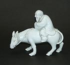 Sage and Mule porcelain figure, Makuzu (Miyagawa) Kozan