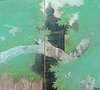 Antique Japanese Silver Folding Screen, Stone Lantern