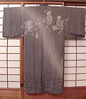 Antique Japanese Dancing Skeleton Jiban Kimono