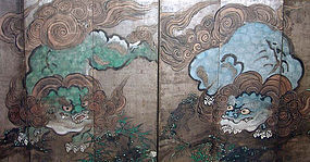 Antique Japanese Silver Screen Pair, Shishi Lions A