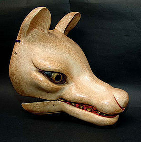 Rare! Antique Japanese Kyogen Fox Mask