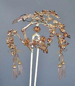 Antique Set of large Silver Kanzashi Hair Pins