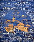 Shishu Embroidered Japanese Silk Fukusa, Golden Palace