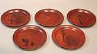 5 Lacquer Dishes Kono Bairei Studio, Seiho, Kokyo, Kako