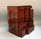 Antique Japanese Burled Wood Picnic Bento Box
