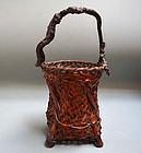 Antique Japanese Hanakago Bamboo Flower Basket