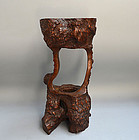 Antique Japanese Natural Wood Burl Vase