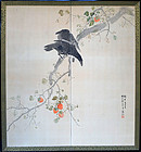Screen, Crows in Persimmon Tree, Tomita Keisen, 1908