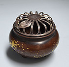 Superb Japanese Gold Splashed Bronze Koro w/ Silver Lid