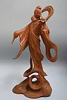1950s Japanese Wood Kannon Statue
