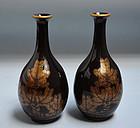 Meiji period Japanese Lacquer Vase Set