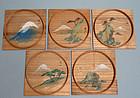 Wood Painted Kashi Sweets Trays by Mizuta Kenzan