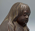 Antique Japanese Bronze Image, Shojo by Shosai