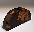 Modern Japanese Wajima Lacquer Vase, Maki-e Maple Trees