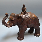 Bizen Elephant and Buddha Okimono by Konishi Toko I