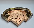 Edo period Lightning Shape Oribe Te-bachi Dish