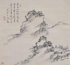 Sumi-e Literati Landscape by Tanaka Hakuin