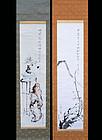 Pair of Gassaku Literati Scrolls, Kodojin, Eiran, Seito