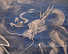 Large Early Edo Painting, Vying Dragons by Mitsunori