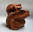 Antique Japanese Wooden Frog Carving signed Yuko