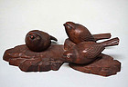 Antique Japanese Wood Carving of Birds, He-emon