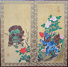 Edo period Japanese Screen, Shishi Lions