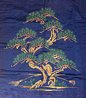 Shishu Embroidered Japanese Silk Fukusa, Pine
