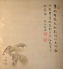 Meiji Hand-painted Fukusa by Suzuki Hyakunen, Ema Tenko