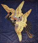 Fine Emboidered Fukusa, Cranes with Glass Eyes