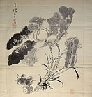 Hand Painted Silk Fukusa, Crabs and Lotus by Shige Shunto