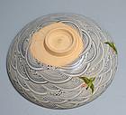Pottery Chawan Tea Bowl, Plovers & Waves by Ito Tozan I
