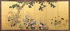 Antique Japanese Gold Rimpa Floral Screen