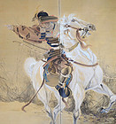 Large Samurai Warrior on Horse Meiji p. Screen, Beizan